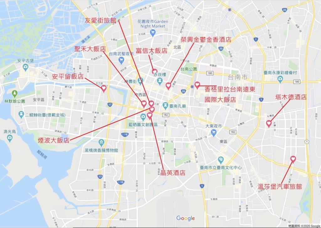 台南住宿地圖
