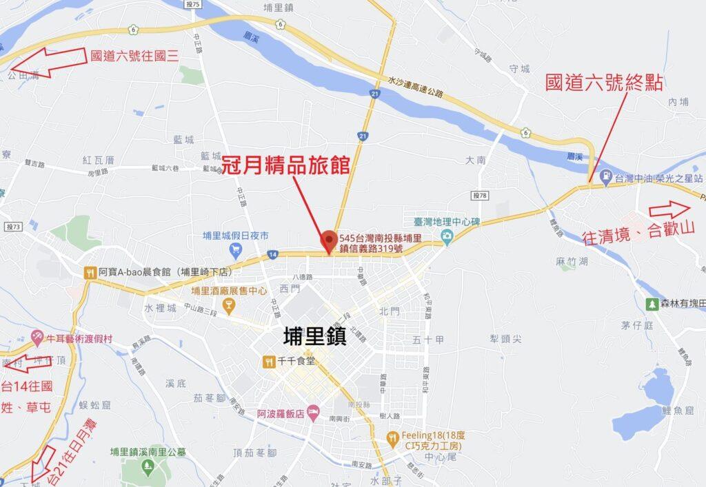 冠月精品旅館位置圖