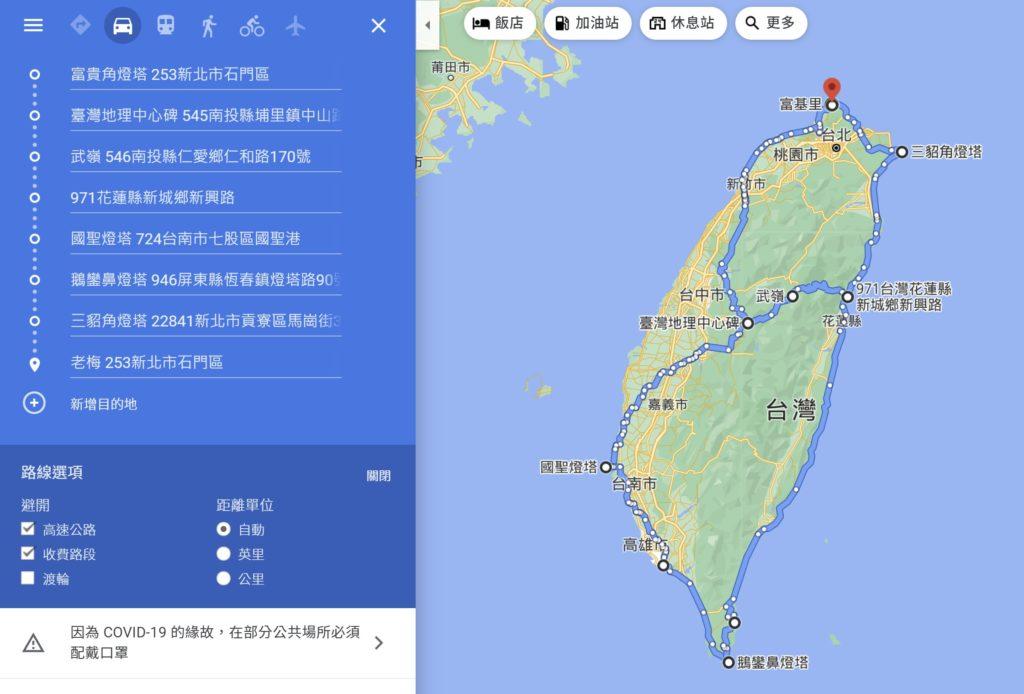 八字型環島路線圖